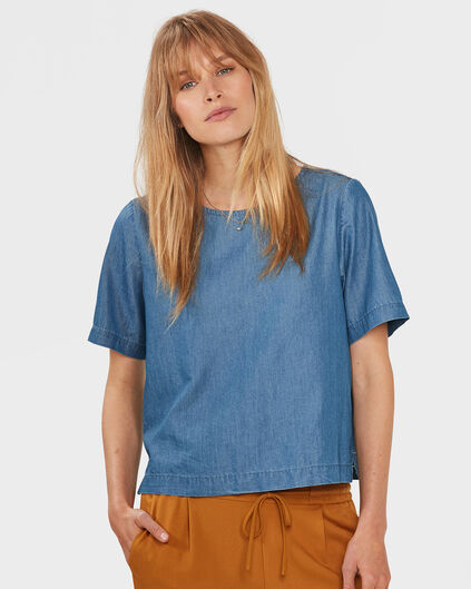 DAMENSHIRT IN JEANS-OPTIK Blau