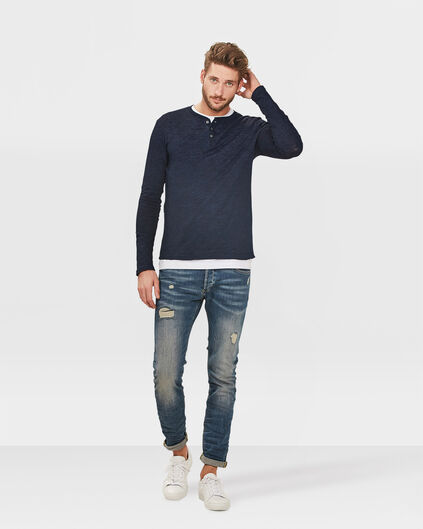 HERREN-SKINNY-TAPERED-REPAIRED-SUPER-STRETCH-JEANS Hellblau