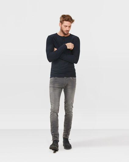 HERREN-SKINNY-TAPERED-REPAIRED-SUPER-STRETCH-JEANS Hellgrau meliert