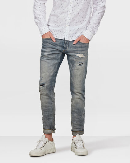 HERREN-SLIM-TAPERED-SELVEDGE-STRETCH-JEANS Hellblau