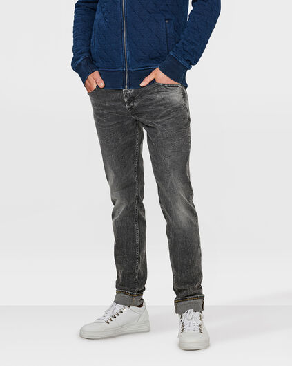 HERREN-SLIM-COMFORT STRETCH-JEANS MIT TAPERED LEG Grau