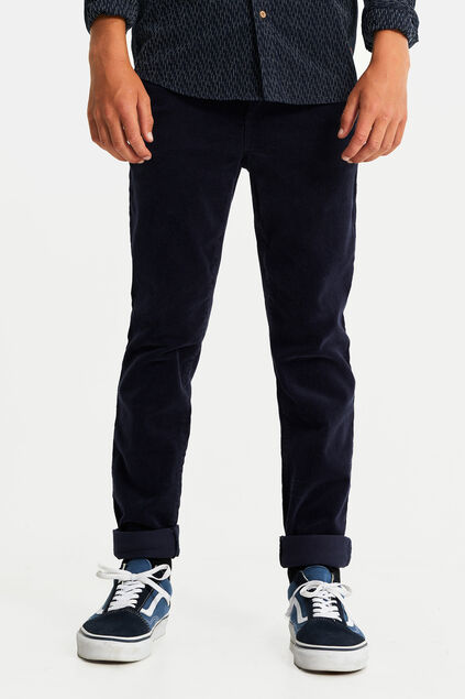Jungen-Slim-Fit-Chinos in Cord-Optik Dunkelblau