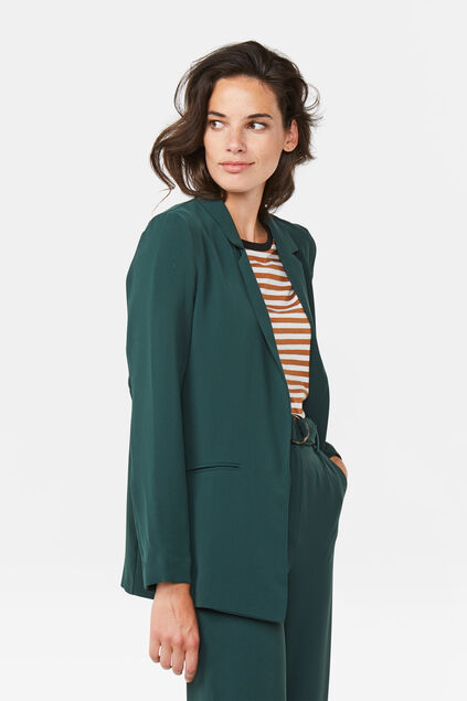 Damen-Regular-Fit-Blazer Dunkelgrün