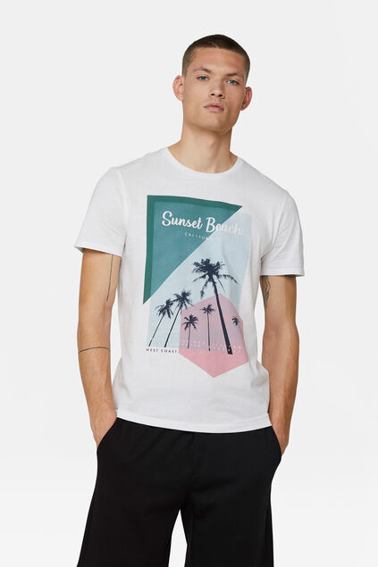 T-shirt sunset beach print homme Blanc