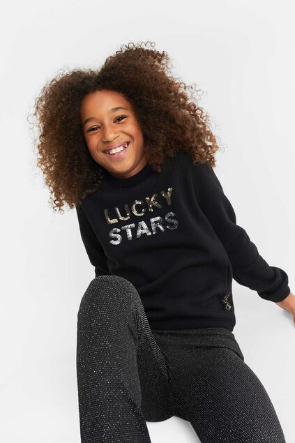 Sweat-shirt à paillettes fille Noir