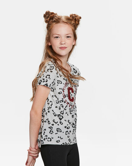T-SHIRT COLLEGE ANIMAL PRINT FILLE Gris clair mêlé