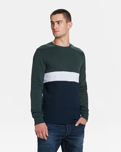 SWEAT-SHIRT COLOUR BLOCK HOMME Vert mousse