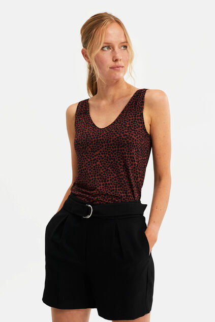 Damen-Top mit Animal-Print Rostbraun