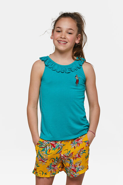 Top ruffle fille Turquoise