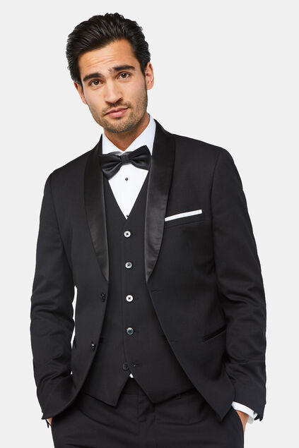 Herren-Slim-Fit-Smokingjackett Dali Schwarz