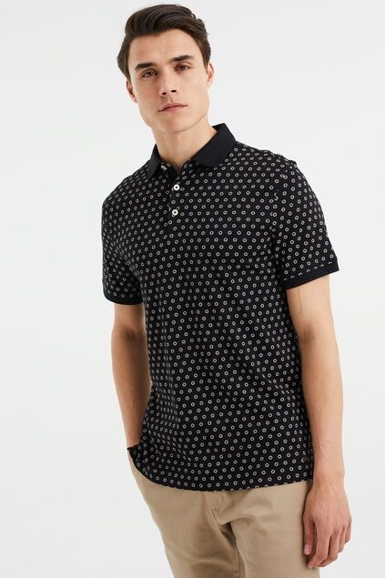 Polo slim fit à motif homme Noir