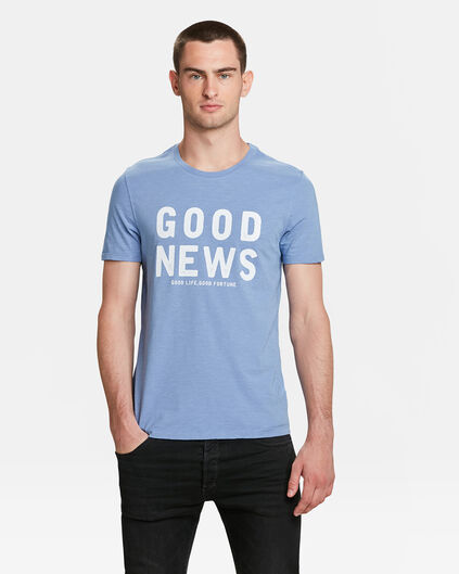 "HERREN-T-SHIRT ""GOOD NEWS"" Graublau"