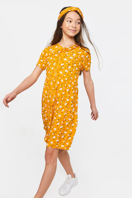 Robe à motif fleurs fille Orange