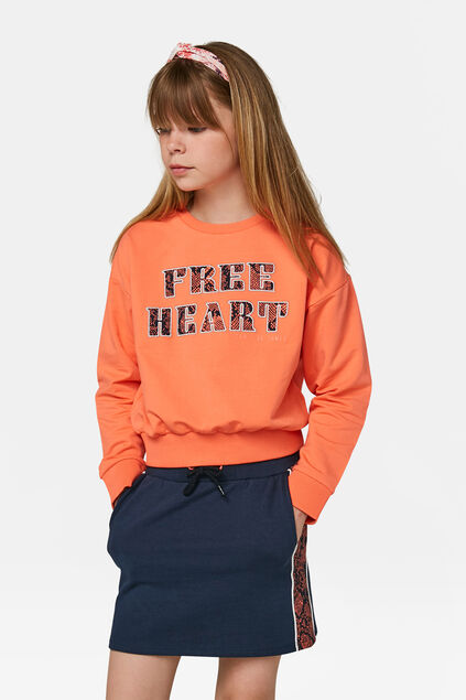 Sweat-shirt à imprimé cœurs fille Orange vif