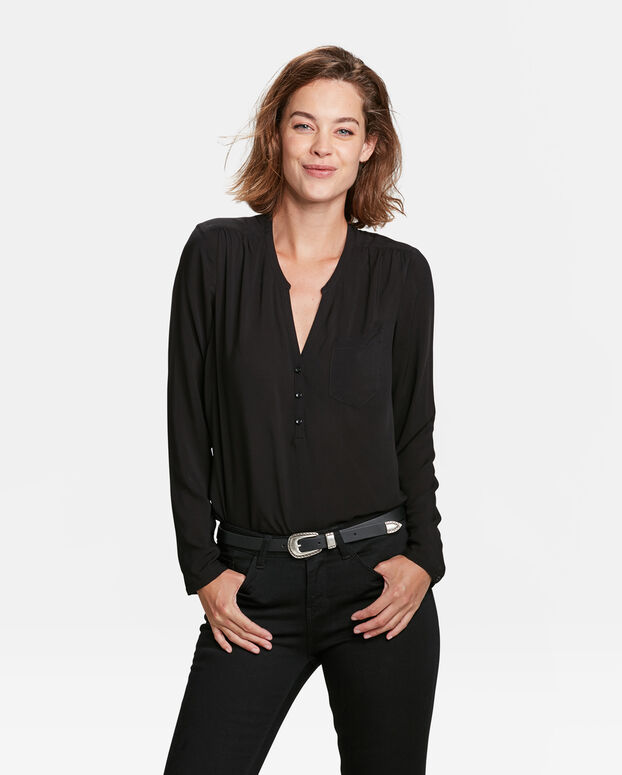CHEMISIER SINGLE PATCH POCKET FEMME Noir