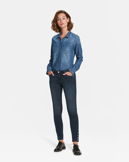 JEANS SKINNY MID RISE SNAP BUTTONS FEMME Bleu marine