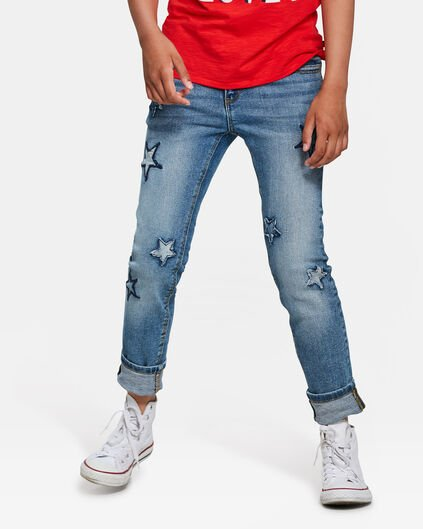JEANS GIRLFRIEND FIT STAR FILLE Bleu