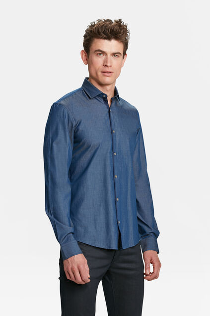 HERREN-SLIM-FIT-HEMD AUS CHAMBRAY Blau
