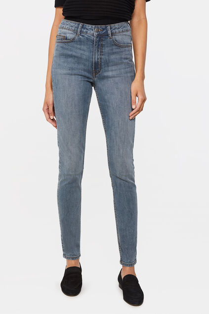 Damen-Skinny-Jeans mit hoher Taille Grau