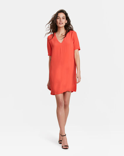 ROBE V-NECK SOLID FEMME Orange