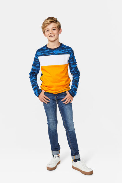 Jungenshirt in Colourblock-Optik Blau