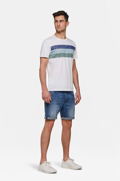 Herren-T-Shirt in Colourblock-Optik Weiß