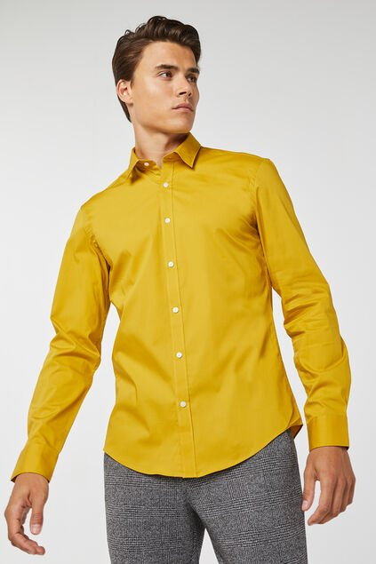Chemise slim fit stretch homme Jaune moutarde