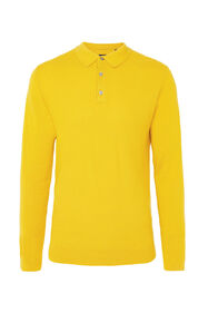 Pull polo de fin jersey structuré homme_Pull polo de fin jersey structuré homme, Jaune moutarde