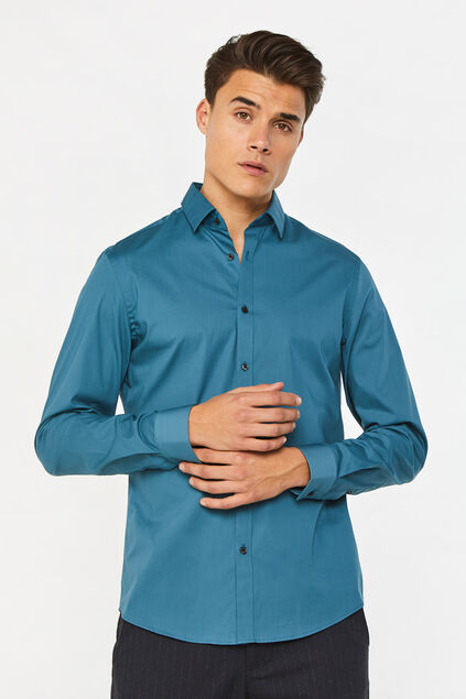 Chemise slim fit stretch homme Turquoise