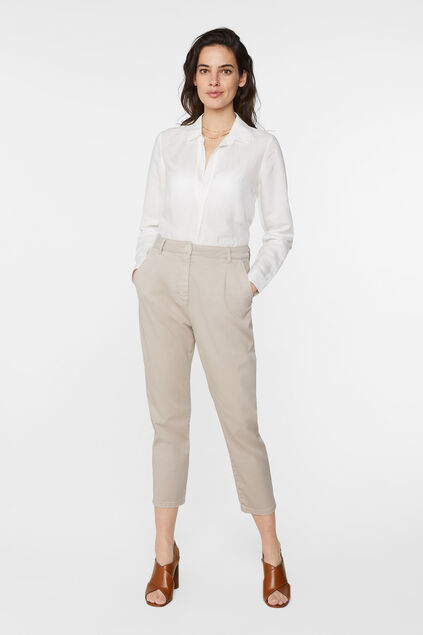 Pantalon high waist et tapered leg femme Beige