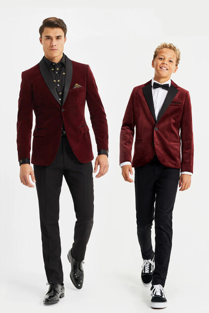 Blazer de velours slim fit homme Bordeaux