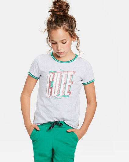 T-SHIRT TOO CUTE PRINT FILLE Gris clair