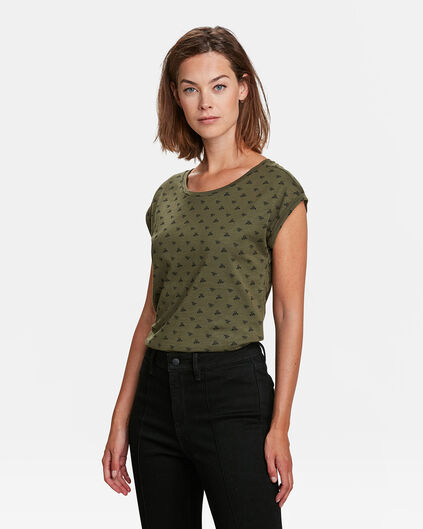 T-SHIRT INSECTS PRINT FEMME Vert olive