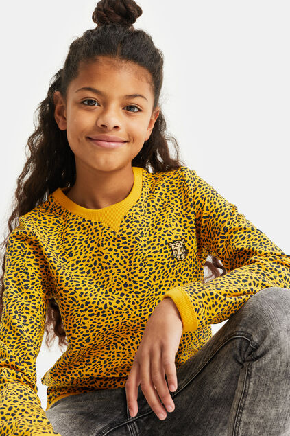 Sweat-shirt à motif animaux fille Jaune vif