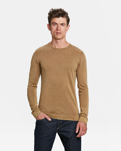 HERRENPULLOVER IN STONEWASHED-OPTIK Beige