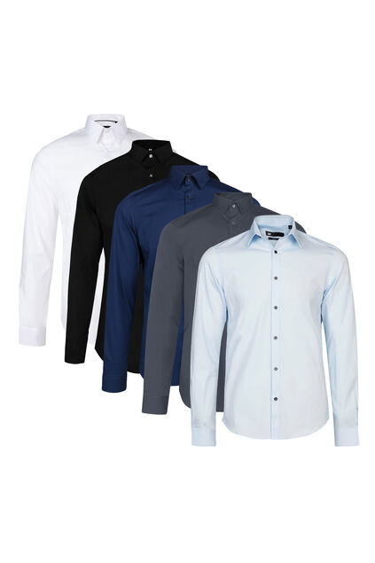 Herren-Slim-Fit-Hemd mit Stretchanteil 5er-pack