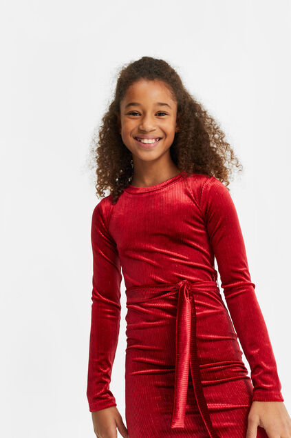 Robe de velours côtelé fille Rouge