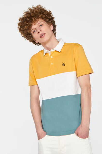 Herren-Poloshirt in Colourblock-Optik Gelb