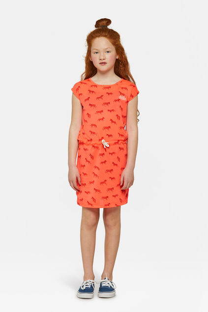 Robe zèbre fille Orange
