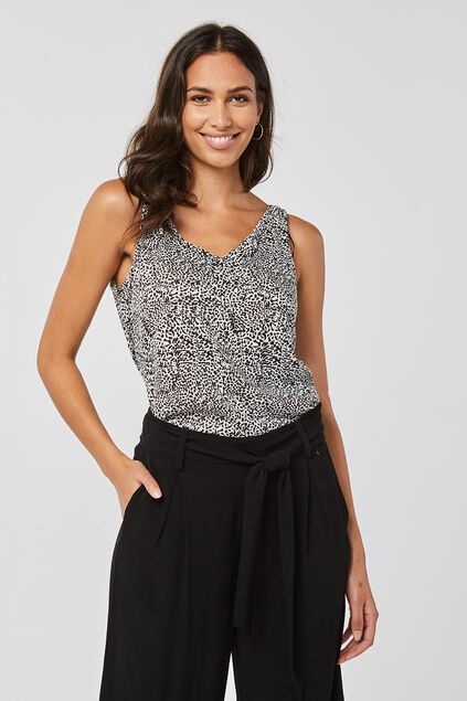Damen-Top mit Allover-Print Weiß