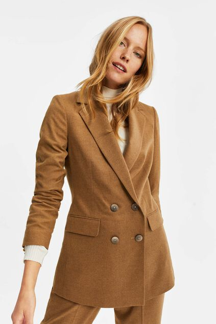 Blazer double breasted loose fit femme Caramel