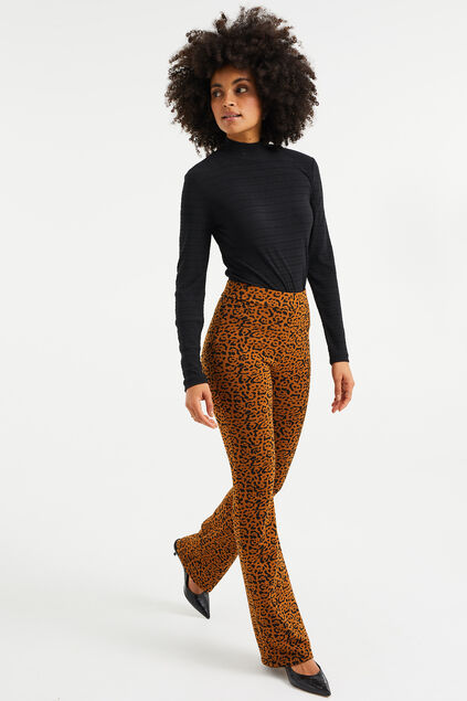 Damen-Flared-Leggings mit Leopardenmuster Cognac