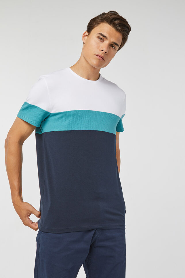 Herren-Piqué-Shirt in Colourblock-Optik Dunkelblau