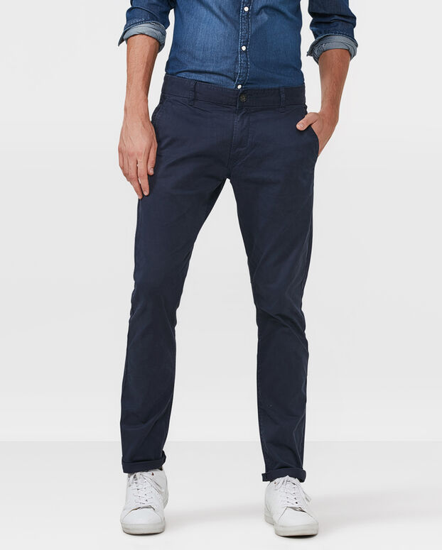 CHINO SLIM FIT CASUAL HOMME Bleu marine