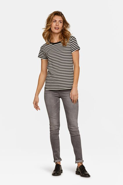 Jeans high rise skinny femme Gris clair