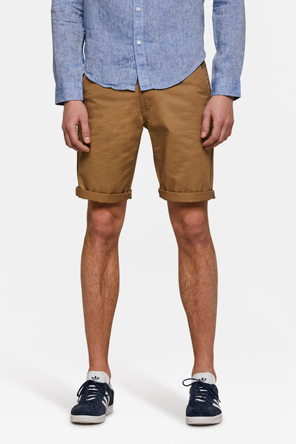 Bermuda regular fit chino homme Brun Cannelle
