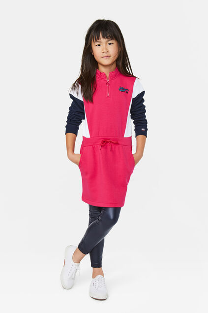 Robe sweat-shirt bloc de couleur fille Rose