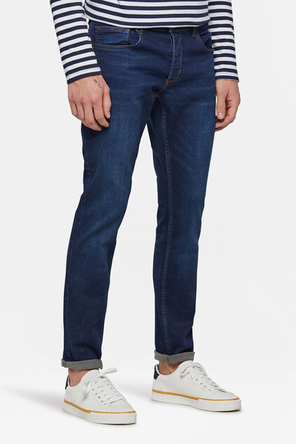 Herren-Slim-Fit-Jeans mit Tapered Leg Dunkelblau