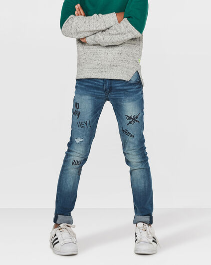 JUNGEN-SUPERSKINNY-POWER-STRETCH-REPAIR-TEXT-JEANS Blau