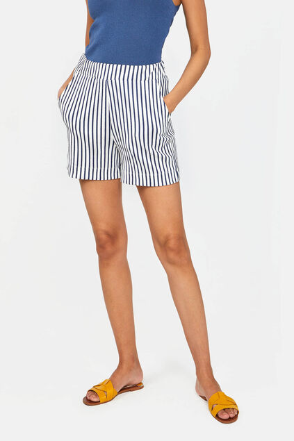 Short relaxed fit rayé femme Blanc